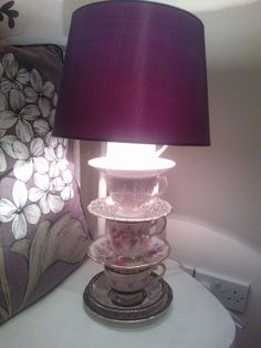 VINTAGE BONE CHINA tea cup lamps Bespoke & quirky by Sarahschina, £65.00
