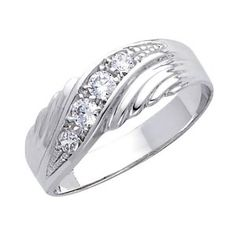 14K White Gold High Poliosh Finish Round-cut Top Quality Shines CZ Cubic Ziconia Wedding Band Ring for Men REVIEW