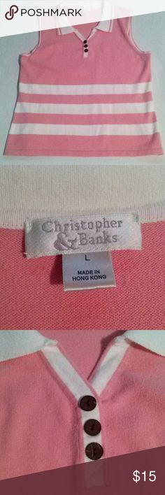 Christopher and Banks Size Large. Measures 23 inches from top of shoulder to bottom hem. Button front. Collared. Christopher & Banks Tops Blouses