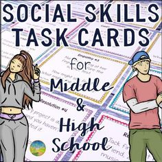 This is a pack of 100 task cards that help middle and high school kids practice social skills. The social skills task cards are organized into five different sets that target different skills: Basic Interactions, Conversations, Empathy, Friendships & Relationships, and Conflict Resolution Skills.
