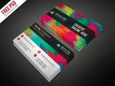 219 best Business Cards images on Pinterest in 2018   Business card     Creative Multicolor Business Card Template Free PSD