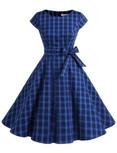 Dressystar Vintage Polka Dot and Solid Color Prom Dresses Cap-Sleeve Vintage Style Dresses, Casual Dresses, Vintage Outfits, Vintage Fashion, Prom Dresses, Frock Dress, Cap Dress, Frock Fashion, Fashion Dresses