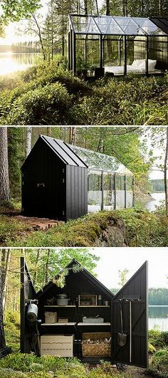 garden shed/summer house A hybrid greenhouse and shed - adding a wooden floor, solar panels for lighting and steps made from reclaimed bricks. I absolutely love this idea, although I'm not going to ask about the logistics of a bathroom. Dream Garden, Home And Garden, Glass House Garden, Glass Green House, Green House Design, Big Garden, Greenhouse Plans, Cheap Greenhouse, Greenhouse Wedding