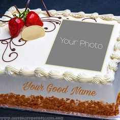 happy birthday cake with name and photo edit online Birthday Wishes With Photo, Happy Birthday Cake Pictures, Happy Birthday Wishes Cake, Beautiful Birthday Cakes, Happy Birthday Greeting Cards, Anniversary Cake With Photo, Happy Anniversary Cakes, Birthday Cake Write Name, Birthday Cake Writing