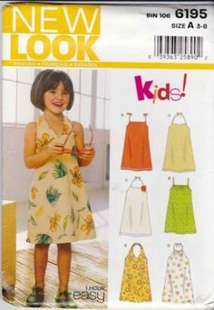 View A & B are perfect for the Little Dreses for Africa Program! New Look Sewing Pattern 6139 Girls Size 3-8 Easy Sundress Halter Pillowcase Dresses