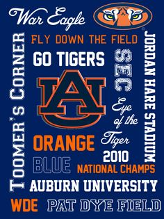 Lizzi's Creations: College Football Printable Subway Art: Alabama, Auburn, Florida, Arkansas, and LSU Sec Football, Auburn Football, Football Quotes, College Football Teams, Ohio State Football, Auburn Tigers, American Football, Auburn University, All Family