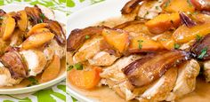 roast chicken with bacon and peaches