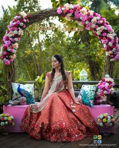 The magic of red is unbeatable and not to miss out the beautiful floral decor around ❤️ . Bride Photo by… Mehendi Decor Ideas, Mehndi Decor, Desi Wedding Decor, Wedding Stage Decorations, Wedding Mandap, Wedding Receptions, Wedding Colors, Wedding Ceremony, Indian Wedding Photography Poses