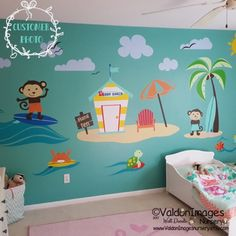 Surfing Monkeys Nursery Wall Decals Ocean Decal Sea Nautical