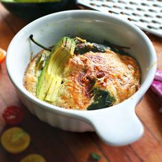 Relleno Souffle with roasted poblanos and sharp cheddar