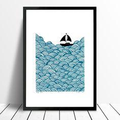 """Bigger Boat"" print in Petrol Blue - Framing Available – Lu West"