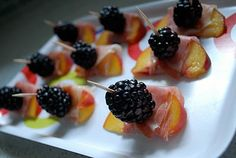 you + me: seasonal appetizer: peach + prosciutto + blackberry.  Easy!!!  Tasty!!! Different!!!