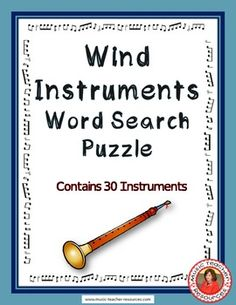 Wind Instruments Word Search Puzzle This Word Search Puzzle contains 30 wind…