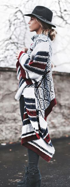 Street Style January 2015: Mary Seng is wearing a multi pattern cardigan from Anthropologie boho chic fashion style
