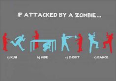 If attacked by a zombie… a) Run b) Hide c) Shoot d) Dance What kind of zombie apocalypse survivor are you?