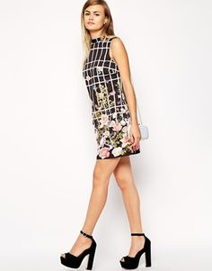 Enlarge ASOS Shift Dress in Floral Bird and Grid Print