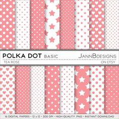 Tea Rose POLKA DOT  BASIC Digital Paper Pack  by JAnnBdesigns