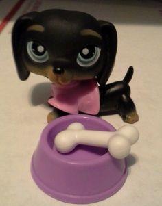 LPS Littlest Pet Shop Dachshund Dog #325 Blue Eyes Pink Shirt Brown Black acc #Hasbro