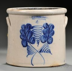 Cobalt Blue Decorated Stoneware Crock | Sale Number 2567B, Lot Number 853 | Skinner Auctioneers