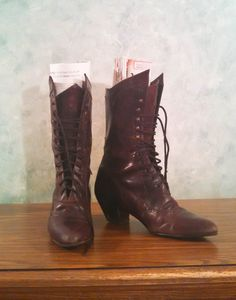 Genuine Leather Victorian-Style Lace-up Boots, Riding Boots, Fall Boots, Womens Brown Leather Boots, Cognac Leather Boots, Wingtip Styling