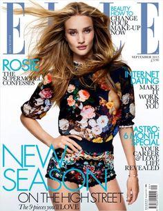 Rosie Huntington-Whiteley graces the September 2012 cover of Elle UK. Photographed by David Vasiljevic.