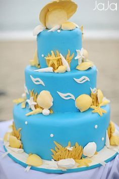 Since the wedding reception was held at the beach (Laiya, Batangas Province, Philippines) a wedding cake themed as so, capped the special event of love and revelry.