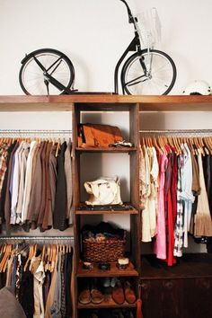 Our closet is wasted space on both ends. I like the idea of tearing out the wall and building this