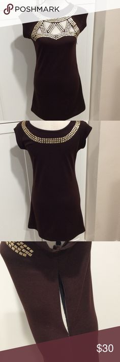 Cute brown dress with gold studs Very cute dress detailed with gold studs around neck line has side zipper for easy on BCBGMaxAzria Dresses Midi