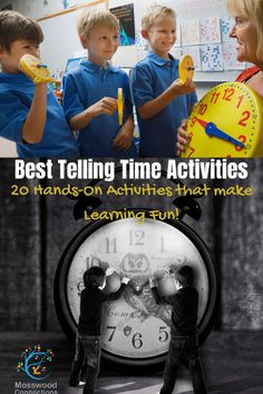 20 Hands-On Activities that Teach Children to Tell Time and that make Learning Fun! #mosswoodconnections #tellingtime #parenting  #homeschooling Telling Time Activities, Learning Games For Kids, Kids Learning Activities, Hands On Activities, Educational Activities, Teaching Kids, Family Activities, How To Start Homeschooling, Homeschool Math