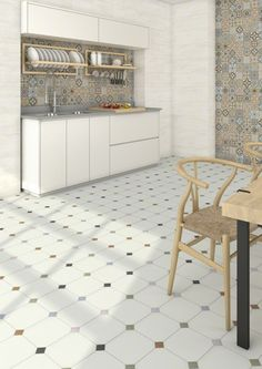 Floor tiles range Vodevil in size, is a porcelain tile with like finish. Italian Tiles, Interior Furniture, Kitchen Tiles, Kitchen Inspirations, Kitchen Flooring, Countertop Design, Tiles, Flooring, Tile Floor