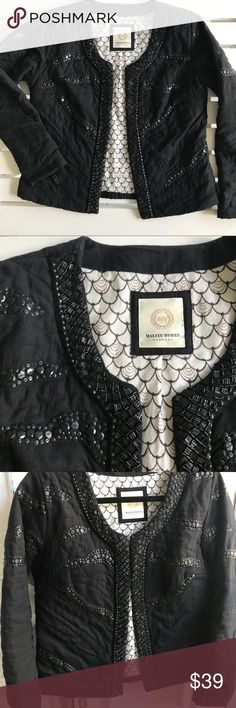 "MALVIN WOMEN HAMBURG EMBELLISHED QUILTED JACKET Absolutely gorgeous and unique Black bead embellished jacket. Hook and eye enclosure. Gently worn, good condition. Slight pilling, all beads intact. Underarm-underarm=19"" lying flat, Length from Shoulder=21"" Malvin Women Hamburg Jackets & Coats Blazers"