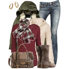A fashion look from November 2013 featuring long sleeve shirts, parka coat and true religion jeans. Browse and shop related looks. Mode Outfits, New Outfits, Casual Outfits, Fashion Outfits, Womens Fashion, Fall Winter Outfits, Autumn Winter Fashion, Mode Style, Style Me