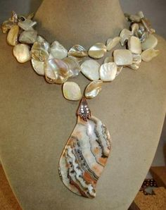 Triple Strand Mother of Pearl Huge Agate Pendant Copper Necklace!! | GoGemCreations - Jewelry on ArtFire