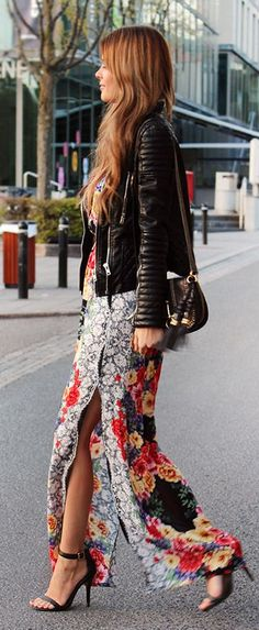 Floral maxi + leather.