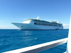 "Royal Caribbeans ""Enchantment of the Seas'- What a beautiful ship sailing on the blue waters of the Bahamas."