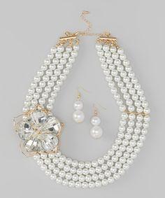 Gold & Pearl Necklace by Hadari #zulily #zulilyfinds