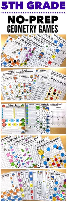 """""""Kids are LOVING these games during rotation time to reinforce standards."""" This 5th Grade Geometry Games Pack includes 16 differentiated games for practicing generating number patterns, plotting points on a coordinate plane, solving real world problems on a coordinate plane, classifying two-dimensional figures such as triangles and quadrilaterals, and more! These games support the 5th grade CCSS geometry standards {5.G.1, 5.G.2, 5.G.3, 5.G.4, 5.OA.3}."""