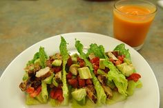 Chicken Tacos - chicken with lettuce for the taco shells, add chopped tomatoes, avocado, and squeeze a whole lime over the top.