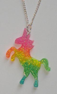 Neon rainbow UV glow glitter unicorn necklace by ToxicGlamour, $8.00