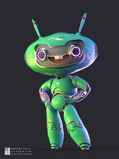 by Teng xianzhuo on ArtStation. Character Concept, Character Art, Robot Cute, Robots Characters, Robot Concept Art, Mascot Design, Modelos 3d, Found Object Art, Robot Design