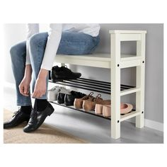 """IKEA - HEMNES Bench with shoe storage Bench with shoe storage. Size: 33 """" Have a seat while putting on your shoes. The simple, classical design with a touch of tradition looks great with other furniture in the HEMNES series. Shoe Storage White, Front Door Shoe Storage, Bench With Shoe Storage, Shoe Rack Bench, Ikea Shoe Storage, Shoe Organizer Entryway, Storage Benches, Shoe Rack By Front Door, Shoe Storage Ideas For Small Spaces"""