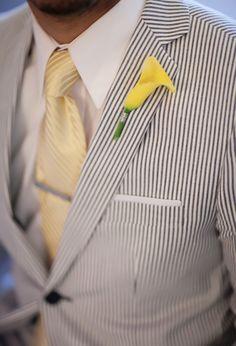 Yellow Wedding Inspiration | Stylish Groom searsucker suits