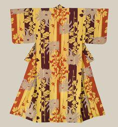A plain silk silk-screen kimono featuring 'kiku'(chrysanthemum) motifs. Taisho period (1911-1927), Japan.The Kimono Gallery