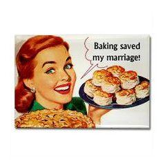 Baking Saved My Marriage Fridge Rectangle Magnet > Funny Fridge Magnets > Cafe Pretzel T-Shirts & Gifts