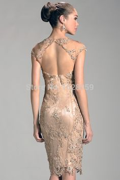 Vintage Lace Mother Of The Bride Dresses 2015 Stylish Sheer Jewel Beaded Sheath Knee Length Open Back Evening Gowns NSJ59