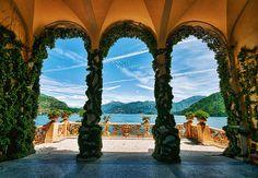 Veranda at the Villa Balbianello at Lake Como (Lago di Como) in Lombardy, Italy.