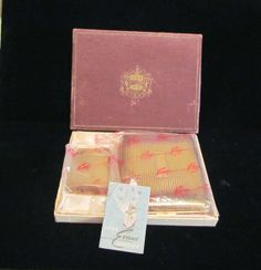 Vintage 1940's Evans Lighter  Cigarette Case Unused Mint Condition Gift Set From PowerOfOneDesigns