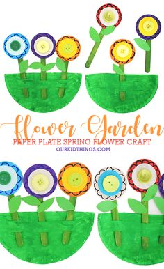 Get kids excited for their first blooms in the garden with our fun and interchangeable Paper Plate Flower Garden Craft! Paper Plate Crafts For Kids, Spring Crafts For Kids, Craft Stick Crafts, Paper Crafts, Diy Crafts, Plate Flowers Garden, Flower Plates, Plastic Bottle Flowers, Mothers Day Crafts