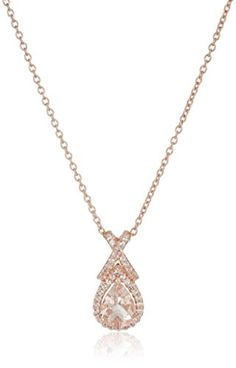 Rose Goldplated Silver Morganite and White Topaz Pendant Necklace 18 -- Visit the image link more details. Note:It is affiliate link to Amazon.