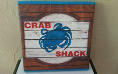 Coastal CRAB SHACK Foldable Storage Box Blue Canvas #Nantucket